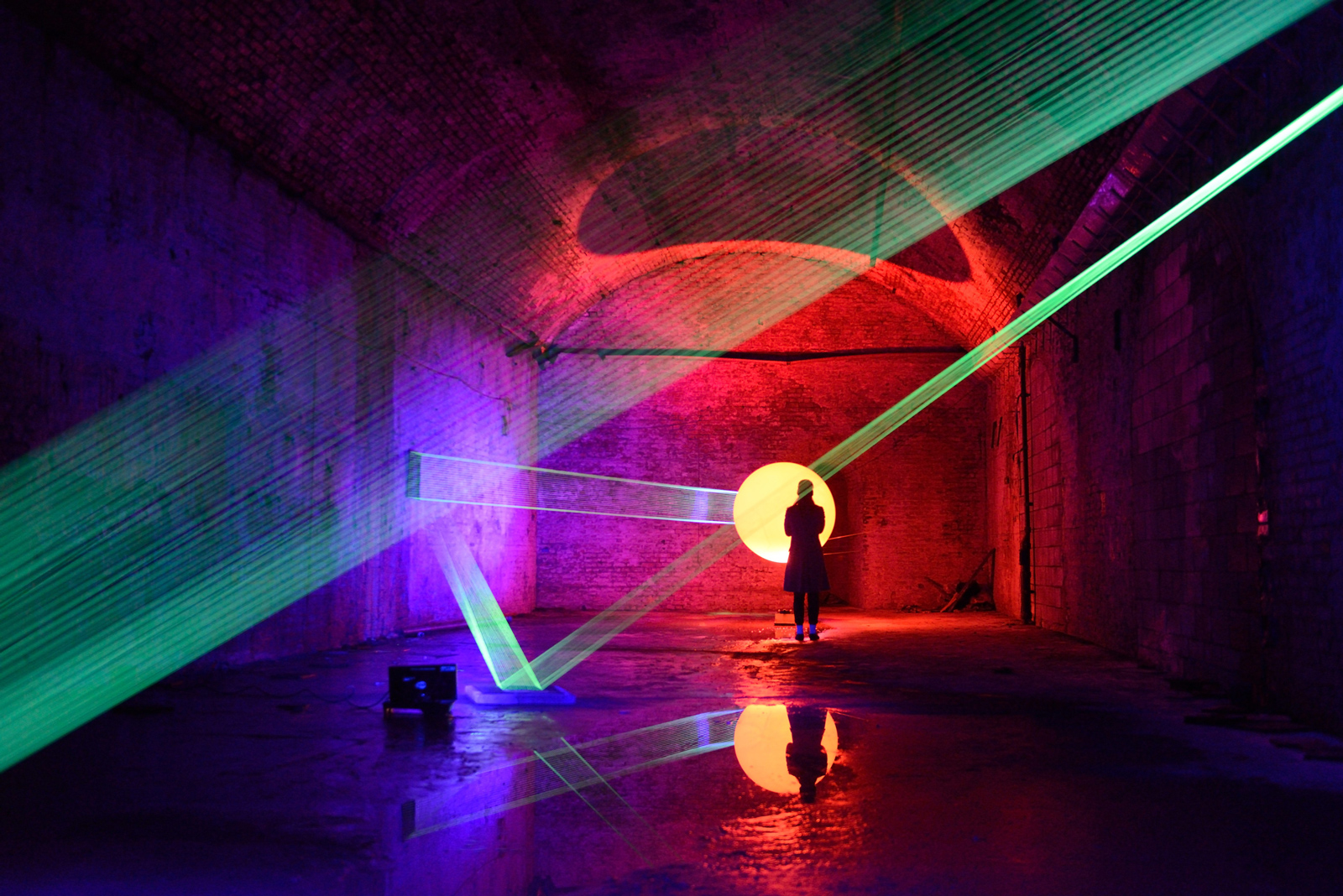 08019 | David Ogle, 2013 | fluorescent fishing line, ultraviolet light, weather balloon | installation view: Royal British Society of Sculptors: Subterranean, Waterloo tunnels, London, 2013 | image: Anne Purkiss