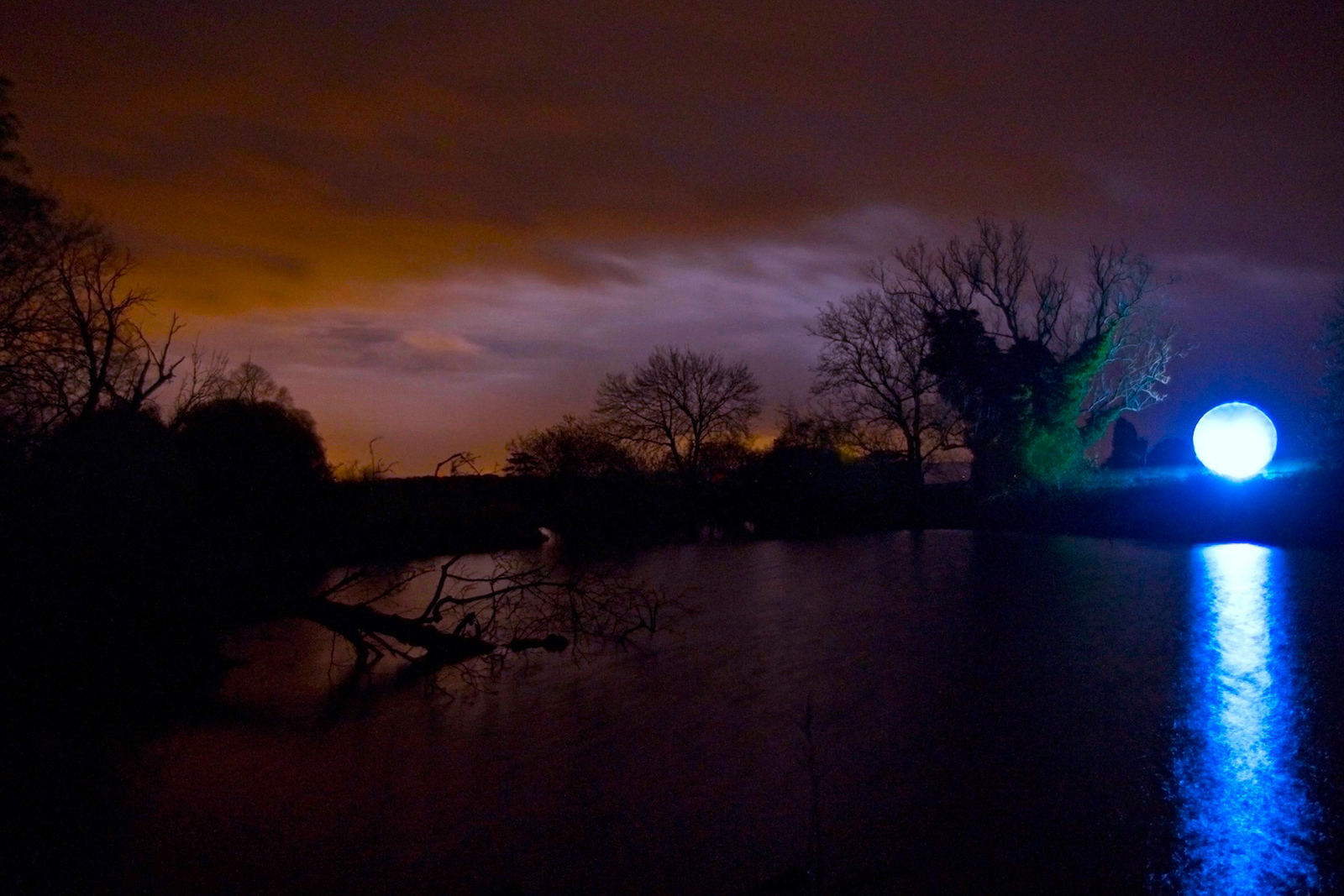 Over the Lake | David Ogle, 2014 | steel frame, plastic sheeting, LED light | installation view: In Another Light, Croft Castle (National Trust), Herefordshire, 2014 | image: courtesy of the artist