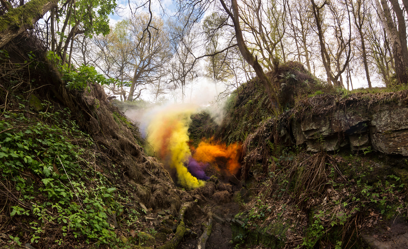 Smog No.1 | David Ogle, 2015 | multi-coloured smoke pyrotechnics | landscape installation (photograph) | part of Loomings: produced by: Mark Devereux Projects | image: Andrew Brooks