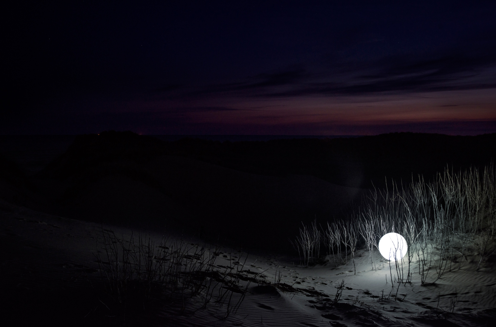 Lunar | David Ogle, 2015 | RGB LEDs, acrylic sphere | landscape installation (photograph) | part of Loomings: produced by: Mark Devereux Projects | image: Andrew Brooks