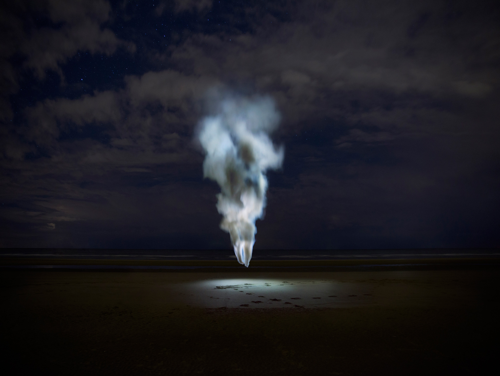Sail | David Ogle, 2015 | white smoke pyrotechnics, white light | landscape installation (photograph) | part of Loomings: produced by: Mark Devereux Projects | image: Andrew Brooks