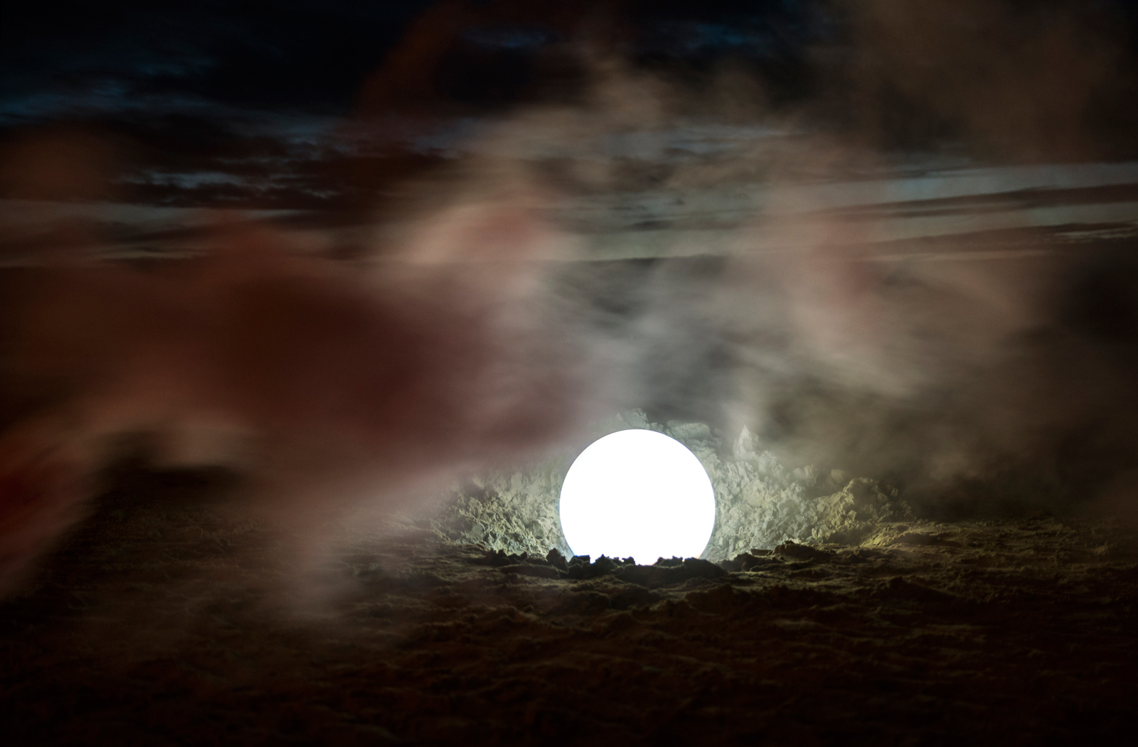 Sail | David Ogle, 2015 | RGB LEDs, acrylic sphere, white smoke pyrotechnics | landscape installation (photograph) | part of Loomings: produced by: Mark Devereux Projects | image: Andrew Brooks