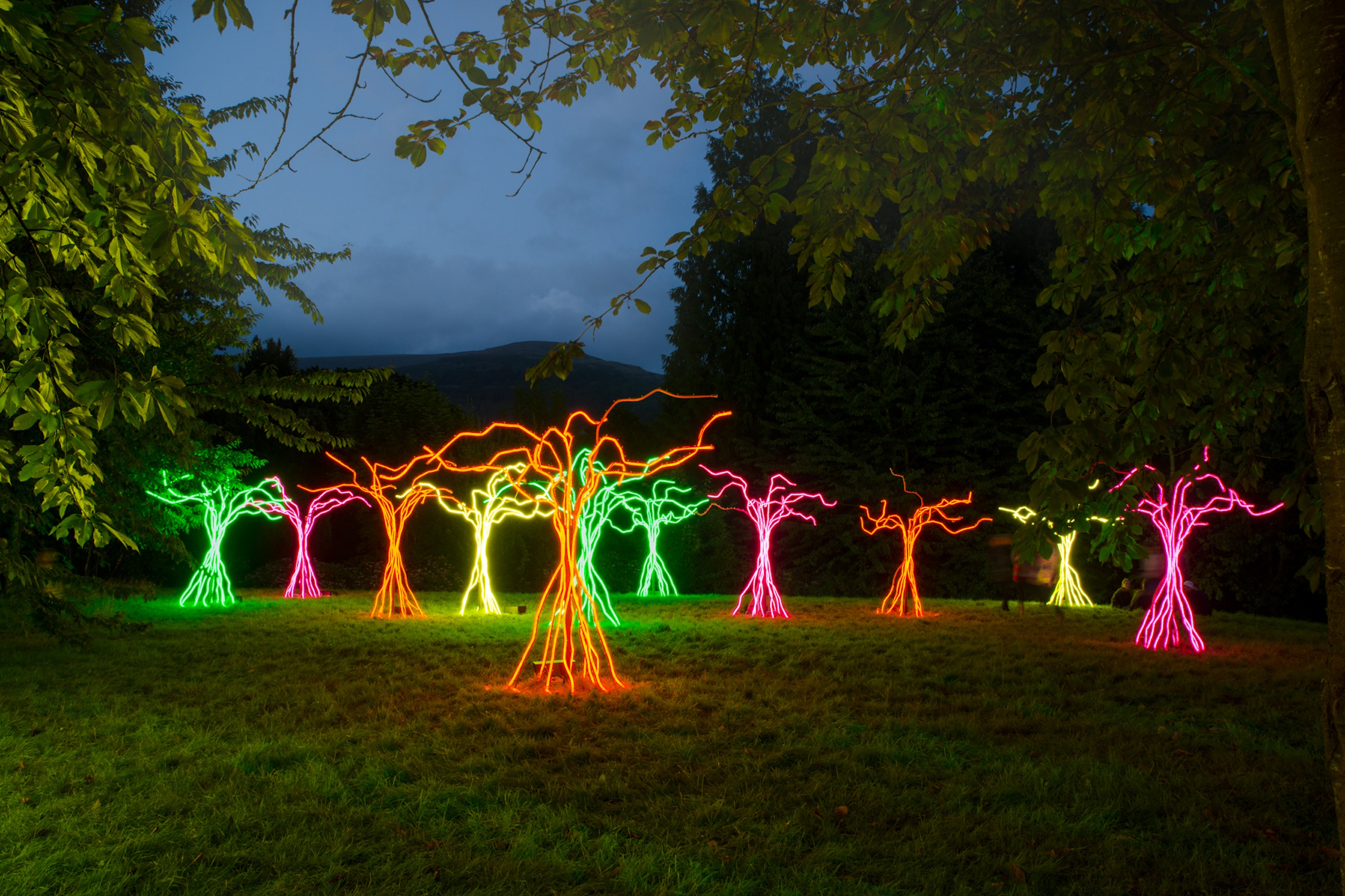 Lumen | David Ogle, 2016 | neon flex, welded steel | installation view: Brecon Beacons, UK, 2017 | image: Green Man Festival 2017