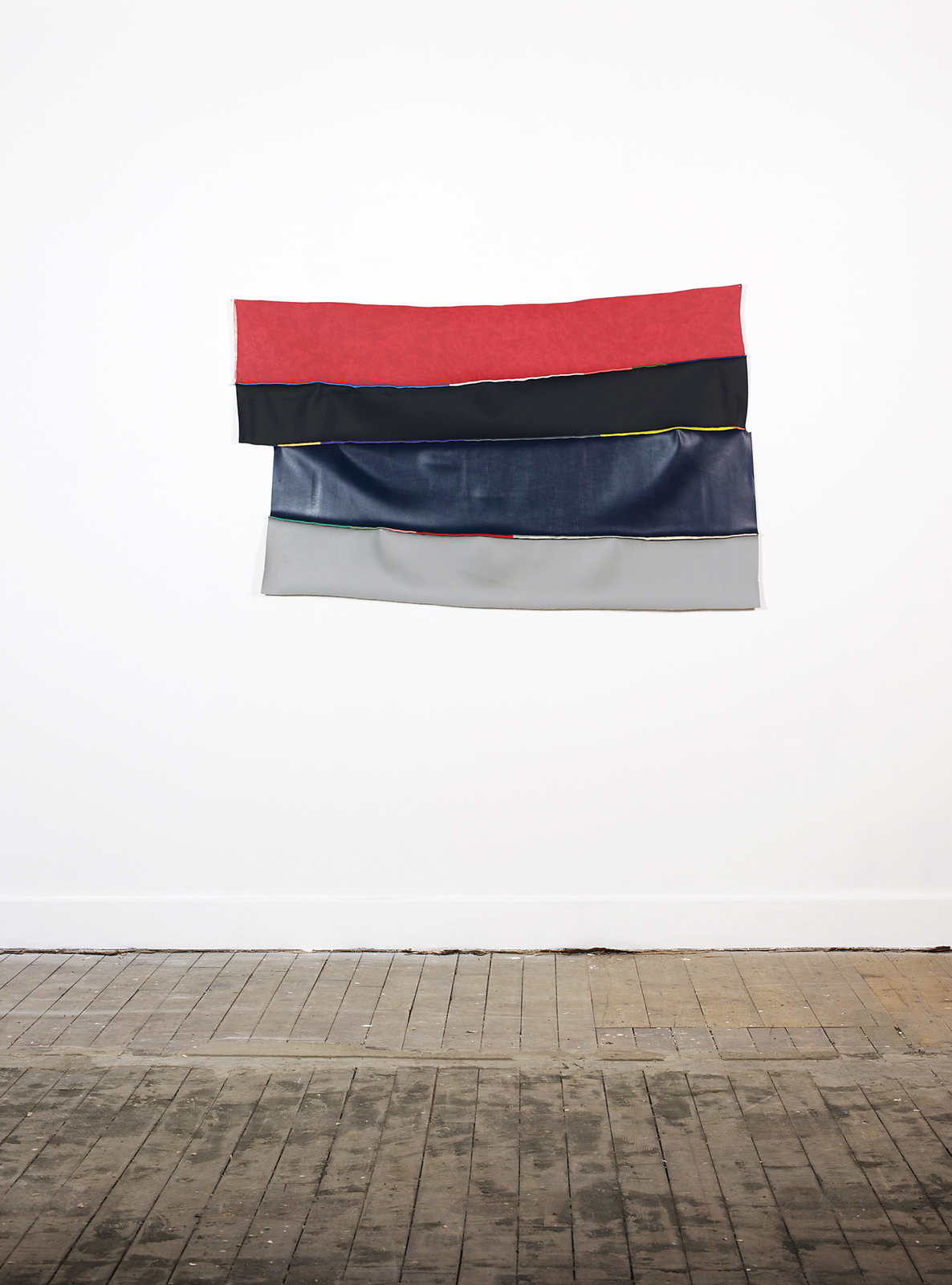 Stitched vinyl series: Red, black, blue and grey | Nicola Ellis | 2015 | vinyl offcuts, cotton thread | 152cm x 90cm 5cm | image: Stephen Iles Photography