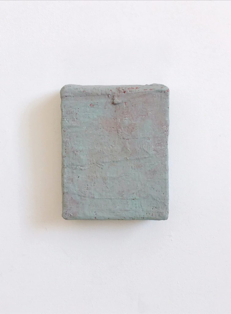 Rock Rose | Charlie Franklin, 2018 | oil, metallic paint, emulsion, chalk paint, plaster, scrim, cardboard | 17cm x 14.5cm x 5cm | image: courtesy of the artist
