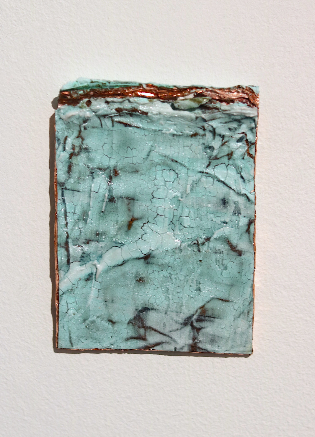 Half Burried | Charlie Franklin, 2019 | oil, watercolour, copper tape, patinated copper tape, plaster, scrim, felt tip pen, acrylic medium | 11.5 x 8.5 x 0.5cm | image: Mark Devereux Projects